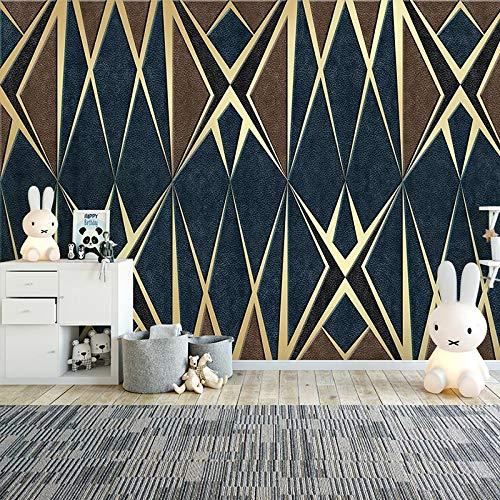 Msrahves fotomurales decorativos pared Cuero textura abstracto geométrico grande Mural TV Fondo Papel de pared Sala de estar Sofá Dormitorio Papel tapiz Papel pintado creativo moderno tejido no tejido