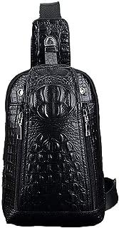Mens Bag Black Or Brown,Men's Classic Crocodile Pattern Leather Chest With Front Pocket Bag Business Briefcase Handbag Shoulder Bag Travel Sports High capacity