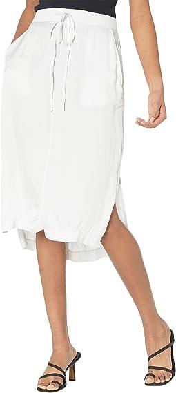 Dom Step Hem Washed Satin Drawstring Waist Skirt