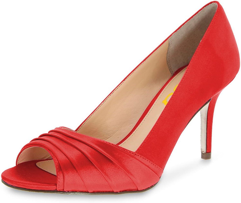 FSJ Women Elegant Slouch Peep Toe Pumps Glitter High Heels Stilettos Formal Office shoes Size 4-15 US