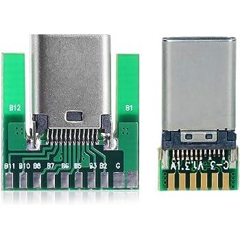 CY DIY 24pin USB 3.1タイプCオス&メスプラグ&ソケットコネクターSMTタイプwith PCボード1セット