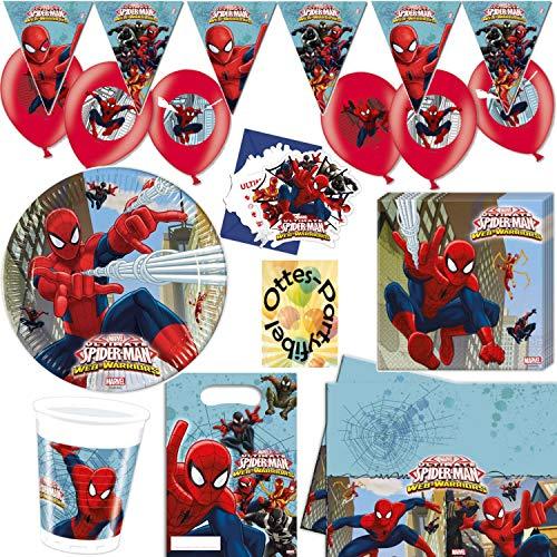 HHO Spiderman Partyset 84tlg.für 12 Gäste Teller Becher Servietten Tischdecke Einladungen Partytüten Luftballons Wimpel