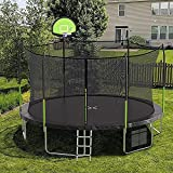 AOTOB 14 FT Trampoline with Enclosure Net,Outdoor Trampoline with Basketball Hoop, Heavy Duty Jumping Mat and Spring Cover Padding for Kids and Adults, 6 Trampoline Stakes, Storage Bag and Ladder