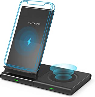 Wireless Charger, Dual wireless charger Qi Certified Magnetic Wireless Charging Stand & Dock, Compatible with iPhone XR//...