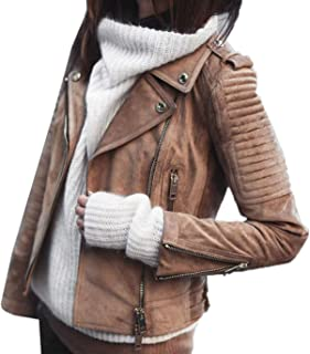 cbc5a40fbe Frühling Herbst Damen Lederjacke Mode Outerwear Kurz Mantel Tops Blazer  Oberbekleidung Blouse Freizeit Langarm Mäntel Jacke