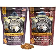 Blue Buffalo Wilderness Rocky Mountain Recipe Dog Treat Variety Pack - 2 Flavors (Red Meat Recipe & Bison Recipe), 8-Ounces Each (2 Total Pouches)