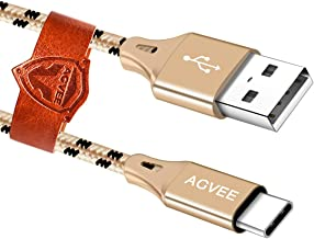 AGVEE 3A Fast USB-C Charger Cable [3 Pack 6ft] Seamless USBC Tip, Braided Type-C Charging Cord for Samsung Galaxy S10 S9 S 8 Note 9 8, A10e A20 A20e, Pixel 3 3XL, LG V20 V30, Gold