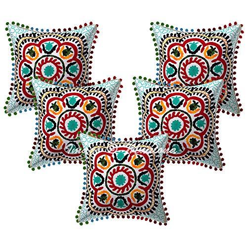 Maniona Fundas de cojín embrioderadas con pompón de Suzani, decorativas, 40,6 x 40,6 cm, 5 unidades