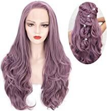 ENTRANCED STYLES Purple Lace Front Wig for Women Synthetic Long Wavy Wig Glueless Lavender Purple Wigs for Girls Heat Resistant Fiber