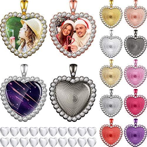 40 Pieces Rhinestone Bezel Heart Trays Set 20 Pieces Colorful Heart Style Blank Pendant Base product image