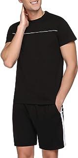 Doaraha Mens Pyjamas Short Sleeved Cotton Set Pajama Top & Comfortable Bottom Pajama Lounge Wear Summer Nightwear S-XXL