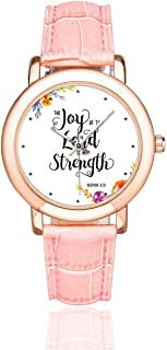 Christian Bible Verse Lettering Women's Rose Gold-plated Watch Pink Leather Strap Wrist Watches