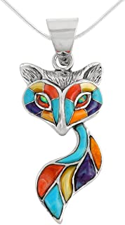 Fox Pendant Necklace Sterling Silver 925 Genuine Turquoise & Gemstones (18