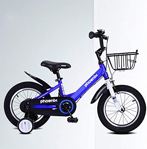 UOOGOU Vélo Enfant avec Roue Auxiliaire Vélo Extérieur Bleu Blanc Vélo Enfant 4 Vélo De Montagne Rond