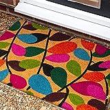 Nicola Spring Fußmatte aus Kokosfaser - rutschfeste PVC-Unterseite - Blätter-Motiv - 90 x 60 cm - 7