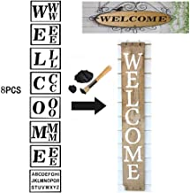Volwco 8PCS Welcome Sign Painting Stencils Sets with Free A-Z Alphabet Template, Reusable Sturdy Thick Letter Stencils for Painting Wood Porch Signs for Bar, Restaurant, Florist, Displaying Window