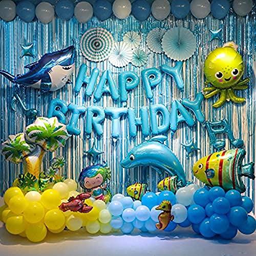 Animales oceánicos fiesta de cumpleaños decoración para niños azul Backdrop Tiburón y delfín globos fiesta de cumpleaños suministros