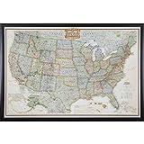 Craig Frames Wayfarer, Executive United States Push Pin Travel Map