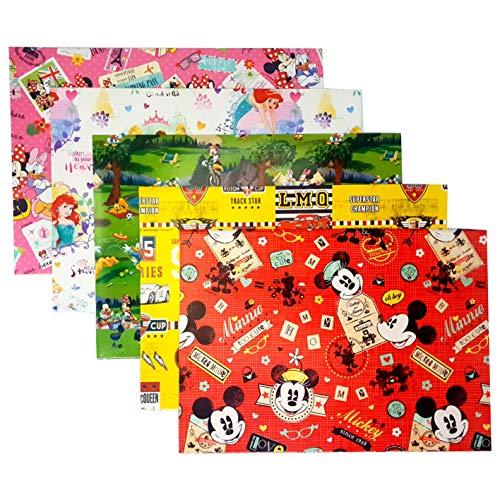 Florio Carta da Regalo per Confezionamenti Regali 5 Pezzi 70cm x 100cm Stampato a Inchiostro Colore Vivo 100% Carta rispetta ambiante (Disney Micky Mouse)