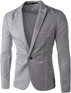 Jueshanzj Mens Blazer One Button Slim Gray X-Large