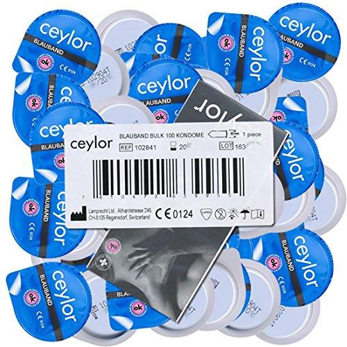"""Ceylor Blauband 100 Kondome mit Gleitcreme, Großpackung, verpackt im hygienischen \""""Dösli\"""", einfach zu öffnen, schnelleres Überziehen, Premium-Qualität aus der Schweiz"""