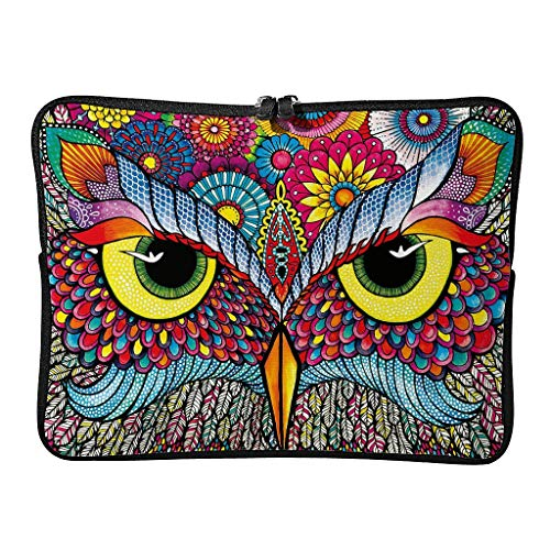 Colorful The owl Tablet Carrying Case Waterproof High Capacity Zipper Multi-Functional Stationery 10-17 Inch for Men Women White 13 Zoll