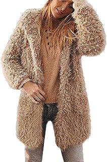 8c8b2f5639 iQKA Women Winter Warm Coat Fuzzy Faux Fur Shearling Lapel Collar Jacket  Outerwear
