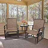 2 Person Outdoor Sling Fabric Double Glider Rocker Chair with Table, L-Glider Chair,Outdoor Double Glider Chair for Porch Garden Lawn