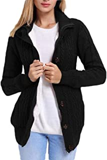 Women Knit Hooded Cable Sweater Button Up Cardigan Coat Outwear