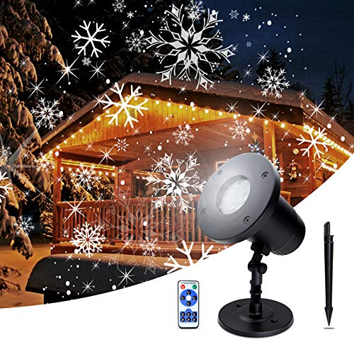 DeepRoar Projector Light Waterproof LED Night Lamp with Snowflake Moving Effect (Black)