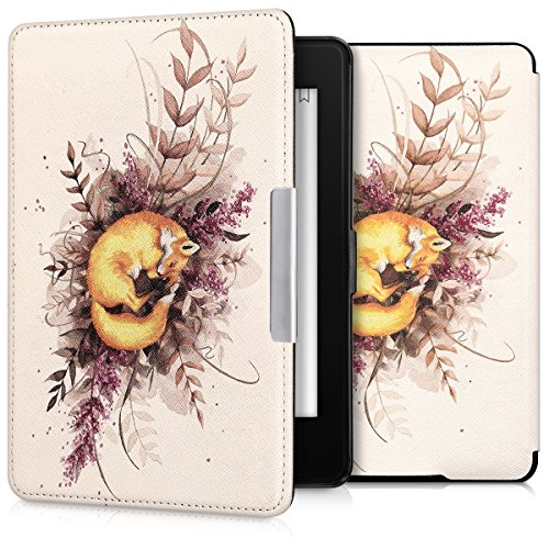 kwmobile Hülle kompatibel mit Amazon Kindle Paperwhite - Kunstleder eReader Schutzhülle (für Modelle bis 2017) - Fuchs Herbst Orange Braun Weiß