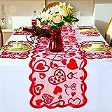 Boao Valentinstag Tischläufer Tischsets Rot Herz Spitze Tischläufer Tischsets Topper Tischdecke Kommode Schal 14 x 72 Zoll für Valentinstag Muttertag Hochzeit