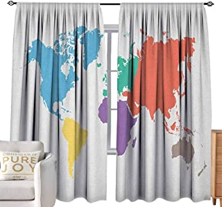 Andrea Sam Eclipse Curtains Map,Continents of The World in Regions Lands Global International Theme, Multicolor Bedroom Blackout Curtains,W84 x L96 inch