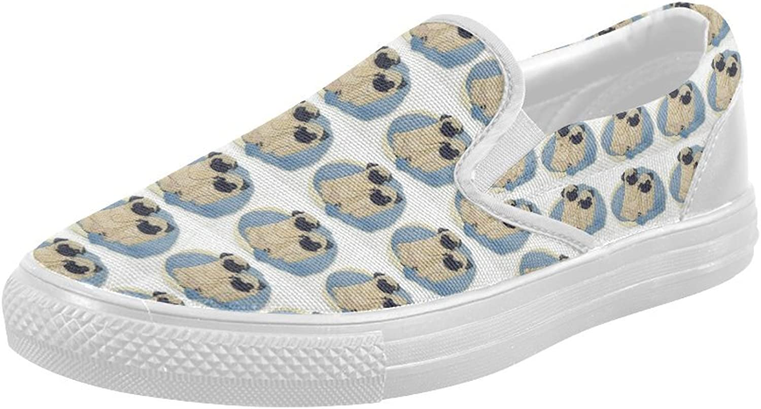 HUANGDAISY shoes Pugs Couple Slip-on Canvas Loafer for Women