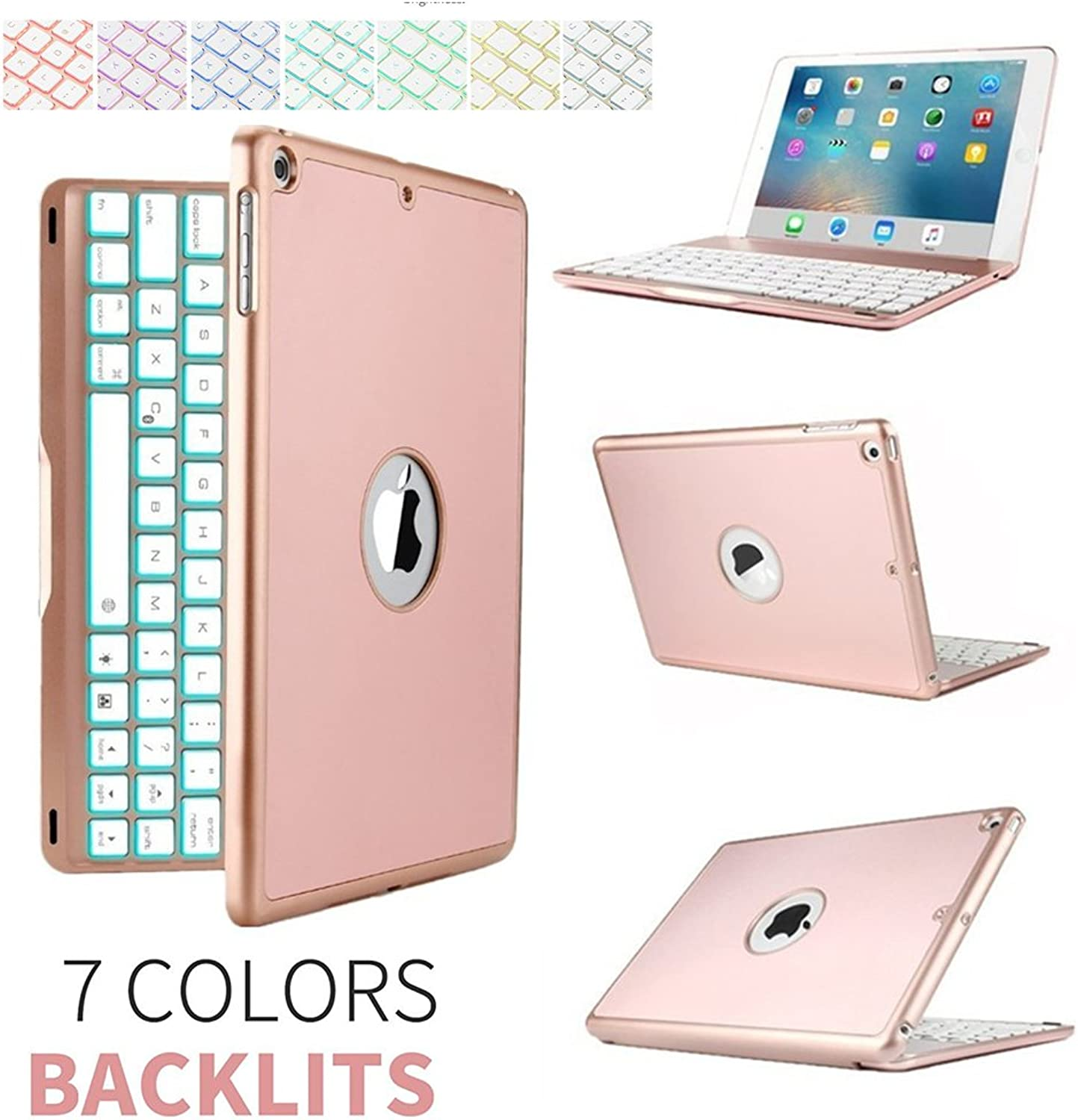 2017 New iPad keyboard case,elecfan 7 color Folio Backlit Light colorful blueetooth Keyboard Case With Executive Multi Function Case for 2017 Apple New iPad 9.7 inch (2017 New iPad, pink gold)