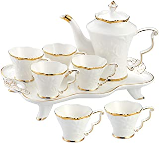 Tea Set 8 Pieces Glazed Porcelain Coffee And Tea Service With 6 Piece Cups And Coffee Tray Gold Trim European Style Afternoon Tea Drinkware Coffee Set For Party And Dinner With Teapot & Tea Cups