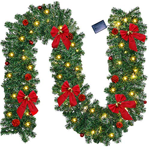 ATDAWN 9 Foot Lighted Christmas Garland with 50 LED Lights, 8 Red Pine Cones, 8 Christmas Balls, 5 Red Bows, LED Christmas Garland for Indoor Outdoor Garden Gate Home Winter Holiday New Year
