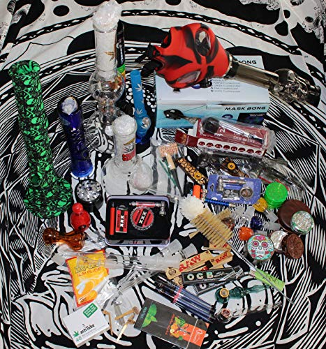 Headshop Set 1-Wundertüte, Acrylbong, Glasbong Chillum, Steckköpfe, Grinder, Pur-Pfeife, Papers, Mystery-Boxen, Percolator, ActiTube, Schmand-Weg, OCB