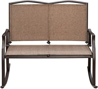 SunLife Outdoor Sling Rocking Chair Built for 2, Loveseat, Bench, Patio, Garden, Balcony, Frame Color is Bronze, Brown, Taupe Fabric Color is Khaki, Sand