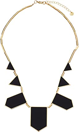Plated Five Station Black Leather Necklace