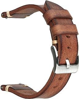 Berfine Retro handgemaakte horlogeband, Quick Release Vintage lederen horlogeband, keuze uit breedte-18mm 20mm 22mm 24mm o...