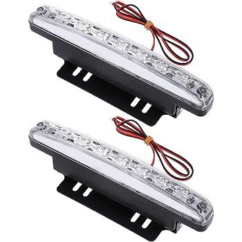 SODIAL R 2 Pcs Vehicule de voiture DRL Blanc 3 LED Feux de jour Lampe de tete 9W feux diurnes a LED