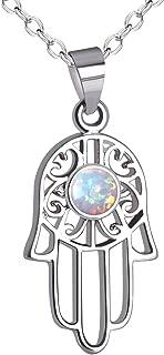 KELITCH Lucky Choker Necklace Syuthetic Opal Palm-Shaped Pendants Necklace