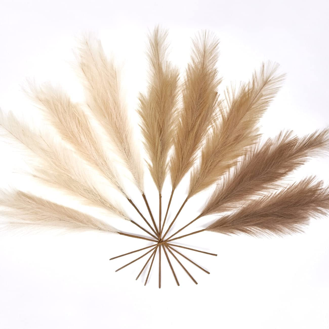 """LUNAMA Artificial Faux Pampas Grass Branches   20 Pcs of 20"""" Tall Pampas  Stems in 20 Natural Colours   Home Decor, Wedding Boho Decor   Small Fluffy  ..."""