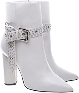Theodora Pearl White Leather Pointed Toe High Block Heel Studded Bootie
