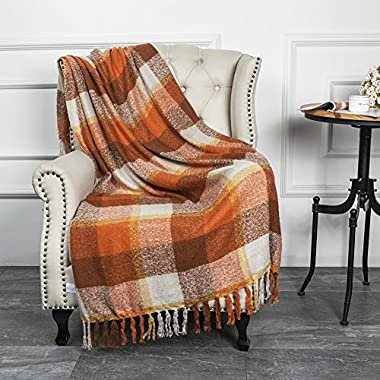 CozzyLife Home Decorations Super Soft Vintage Fluffy Plaid Throw Blanket-100% Acrylic Cashmere-Like- Bedspread Picnic Tailgate Stadium RV Camping Blanket Throw with Fringe,50  W x 67  L (Orange)