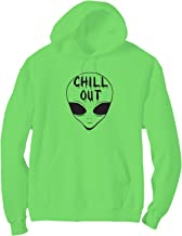 Chill Out with Alien Head Bright Neon Adult Pullover Hoodie - 6 Bright Colors