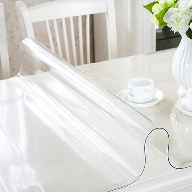 Tischdecken Wasserdicht, PVC Weiches Glas wasserdichte Extrem dicke transparente Tapete Plastik Kristall Tisch Couchtisch Esstischdecke (optionale Dicke) (optionale Gre) zum Abendessen