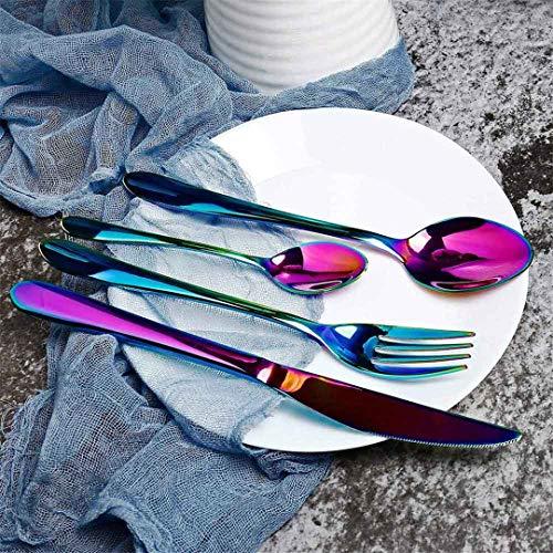 SILIC&NOSTIKCOOK - Juego de cubiertos de oro negro de acero inoxidable y plata, arcos de la mesa, cubiertos, tenedor, cuchara, cuchara, arcoíris, 4 unidades