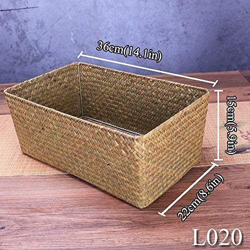 Natural Large Straw Woven Seagrass Wicker Basket, Used for Household Dining Table Fruit Bread Towel Small Kitchen Storage Container Set
